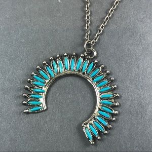 Vtg faux turquoise silver necklace